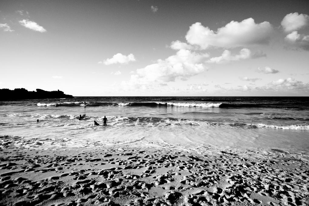 Cornish beach in black and white
